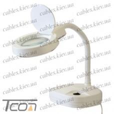 """Лампа-лупа """"Zhongdi"""" с LED подсветкой, настольная, круглая, 3+8-и кратное увеличение, 3W, диам.-90мм, белая"""