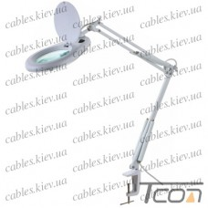 Лупа-лампа на струбцине, круглая, 5-и кратное увеличение, 7W, диаметр-130мм, белая