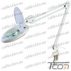 "Лупа-лампа ""Zhongdi"" с LED подсветкой, на струбцине, круглая, 5-и кратное увеличение, 7W, диам.-130мм, ,белая"