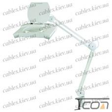 """Лупа-лампа """"Zhongdi"""" с LED подсветкой, на струбцине, прямоугольная, 5-и кратное увеличение, 7W, диам.-190х157мм, белая"""