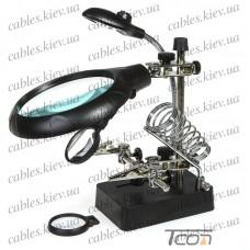 """Держатель """"Третья рука"""" ZD-126-3 (MG16129-C) c LED подсветкой с зажимом и подставкой под паяльник, 3Х диам.-90мм +8Х диам.-34мм, Zhongdi"""