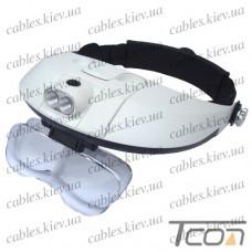 Лупа бинокулярная налобная с LED подсветкой, 1,0Х 1,5Х 2,0X 2,5Х 3,5Х кр. увеличение, Zhongdi