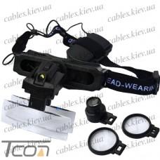 Лупа бинокулярная налобная с LED подсветкой 5Х 10Х 15Х 20Х кратное увеличение, Zhongdi