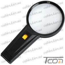 Лупа ручная круглая, с подсветкой, 2,5 кратное увеличение, диам.-90мм, Zhongdi