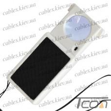 Лупа ручная выдвижная, с LED подсветкой + УФ, 45-и кратное увеличение, диам.-25мм, Zhongdi