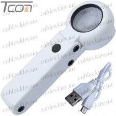 Лупа ручная No.FS37DC+USB с LED подсв., 11Х диам-37мм