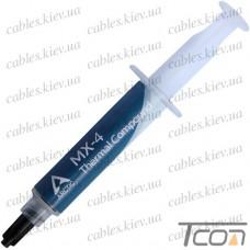 Термопаста Arctic MX-4, теплороводимость 8.5 Вт/мК, серая, в шприце, 8 грамм