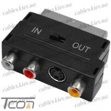 "Переходник ""Tcom"", штекер Скарт - 3 гнезда RCA + гнездо mini din4Р, с переключателем"