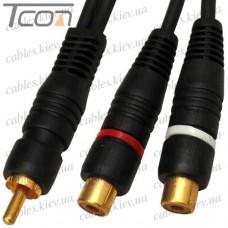 "Переходник ""Tcom"", штекер RCA - 2 гнезда RCA, co шнуром 0,2м, gold, диам.-6х12мм, чёрный"