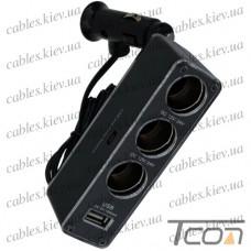 """Разветвитель автоприкуривателя """"Tcom"""", штекер прикуривателя - 3 гнезда прикуривателя + гнездо USB c кабелем"""