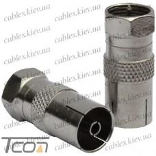 Переходник антенный штекер F - гнездо ТВ, корпус металл, Tcom