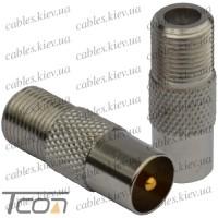 Переходник антенный штекер ТВ - гнездо F, gold pin, цинк, Tcom
