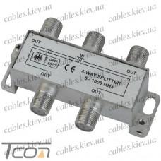 Сплиттер (Splitter) ТВ 4-way 5-1000MHZ, корпус металл, Tcom