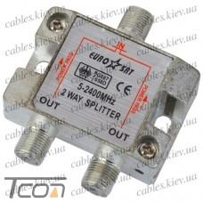 Сплиттер (Splitter) ТВ 2-way 5-2400MHZ, с проходом питания, корпус металл, Tcom