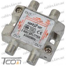 Сплиттер (Splitter) ТВ 3-way 5-2400MHZ, с проходом питания, корпус металл, Tcom