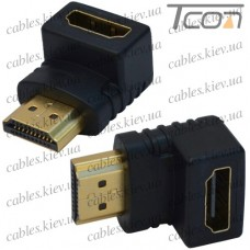 Переходник штекер HDMI - гнездо HDMI, gold, угловой, пластик, Tcom