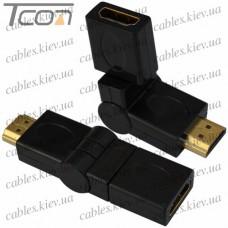 Переходник штекер HDMI - гнездо HDMI, gold, поворотный на 360 градусов, пластик, Tcom