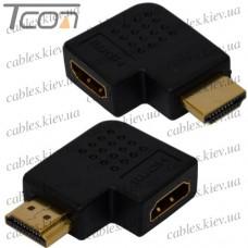 Переходник штекер HDMI - гнездо HDMI, угловой горизонтальный, правый, gold, пластик, Tcom
