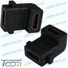 Переходник гнездо HDMI - гнездо HDMI, gold, угловой, Tcom