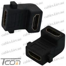 Переходник гнездо HDMI - гнездо HDMI, gold, угловой (в блистере), Tcom