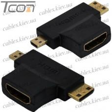 Переходник гнездо HDMI - штекер mini HDMI + штекер micro HDMI, gold, угловой, Tcom