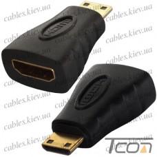 "Переходник штекер mini HDMI - гнездо HDMI, ""позолоченный"", корпус_пластик, Tcom"
