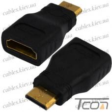 "Переходник штекер mini HDMI - гнездо HDMI, ""позолоченный"", корпус пластик, Tcom"