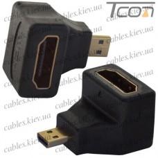 """Переходник штекер micro HDMI - гнездо HDMI, угловой, """"позолоченный"""", корпус пластик, Tcom"""