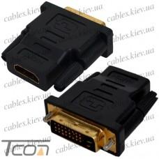 """Переходник штекер DVI-D(24+1) - гнездо HDMI, """"позолоченный"""", корпус пластик, Tcom"""