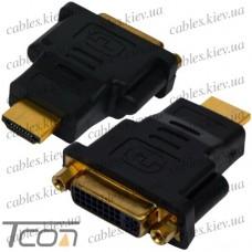 Переходник гнездо DVI - штекер HDMI, gold, пластик, Tcom