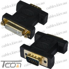 Переходник гнездо DVI(24+5) - штекер VGA, gold, пластик, Tcom
