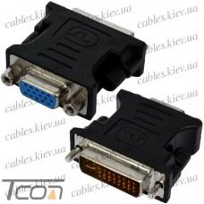 Переходник штекер DVI - гнездо VGA, gold, пластик, Tcom