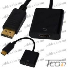 Переходник штекер Display Port - гнездо HDMI, с кабелем 0,2м, Tcom