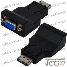 Переходник штекер Display Port - гнездо VGA, корпус пластик, Tcom