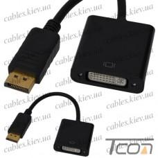 Переходник штекер Display Port - гнездо DVI, с кабелем 0,2м, Tcom