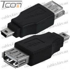 """Переходник """"Tcom"""", гнездо USB A - штекер mini USB 5pin"""