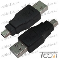 Переходник штекер USB A - штекер mini USB 5pin, Tcom