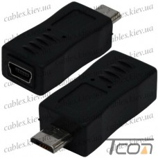 Переходник штекер micro USB - гнездо mini USB, пластик, Tcom