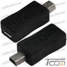 Переходник штекер mini USB - гнездо micro USB, пластик, Tcom