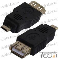 Переходник гнездо USB A - штекер micro USB, Tcom