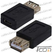 """Переходник """"Tcom"""", гнездо USB A - гнездо micro USB"""