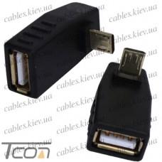 Переходник гнездо USB A - штекер micro USB, угловой, Tcom