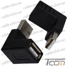 Переходник штекер USB A - гнездо USB A, угловой, Tcom