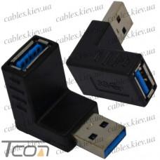 Переходник штекер USB A - гнездо USB A, угловой, v.3.0, Tcom