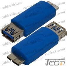 """Переходник """"Tcom"""", штекер micro USB тип В - гнездо USB A, Vers.3.0, синий"""