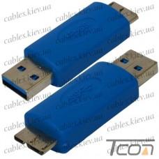 """Переходник """"Tcom"""", штекер micro USB тип В - штекер USB A, Vers. 3.0, синий"""