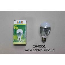 Лампочка светодиодная, 220V, 5Вт, Е27, алюминиевый корпус, натуральный белый