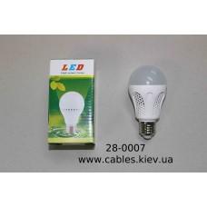 Лампочка светодиодная, 220V, 5Вт, Е27, алюминиевый охладитель, натуральный белый