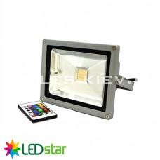Прожектор светодиодный RGB LED Star c пультом, 220V, 20W, дневной свет, LED Star