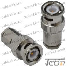 "Штекер BNC ""Tcom"" под кабель (RG-6), gold pin, латунь"